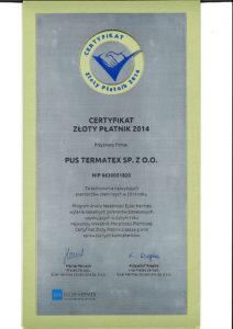 Certyfikat_ZlotyPlatnik2014_pl